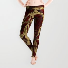 Native leaves with red and gold chevron Leggings