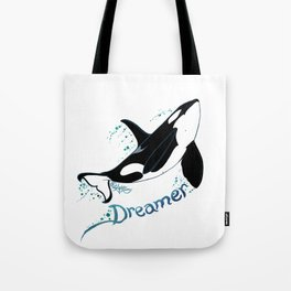 Dreamer Orca (Amber Marine, Indie Wildlife Artist Official Logo, Copyright 2015) Killer Whale Art Tote Bag