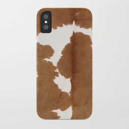 Tan and white cowhide texture iPhone Case