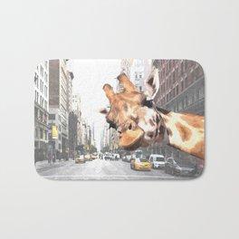 Selfie Giraffe in New York Bath Mat