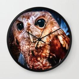 Screech Owl Portrait Wall Clock