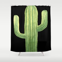 Simple Green Cactus on Black Shower Curtain