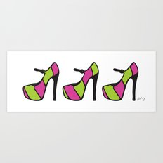 High Heel Parade - Pink & Green Art Print