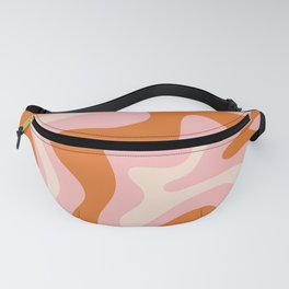 Liquid Swirl Retro Abstract Pattern in Pink Orange Cream Fanny Pack