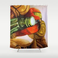 metroid Shower Curtains featuring Metroid by JeyJey Artworks