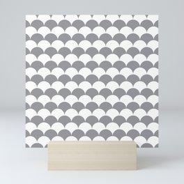 Grey Fan Shell Pattern Mini Art Print