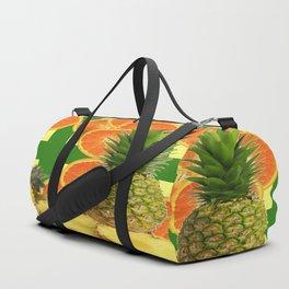 PINEAPPLES & ORANGE FRUIT SLICES  GREEN DESIGN Duffle Bag