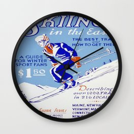 Vintage poster - Skiing in the East Wall Clock