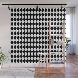 Classic Black and White Harlequin Diamond Check Wall Mural