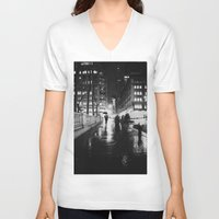 new york city V-neck T-shirts featuring New York City Noir by Vivienne Gucwa