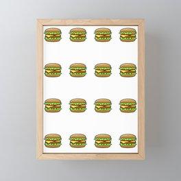 Hamburger Repeat Pattern Framed Mini Art Print