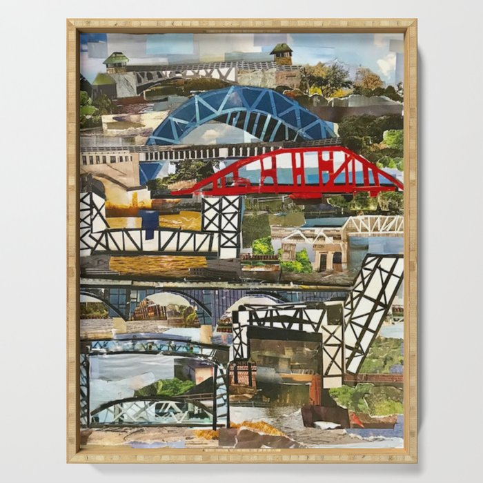 """Cleveland Bridges"" in cut paper by Willowcatdesigns Serving Tray"