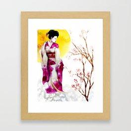 Sunset Geisha Framed Art Print