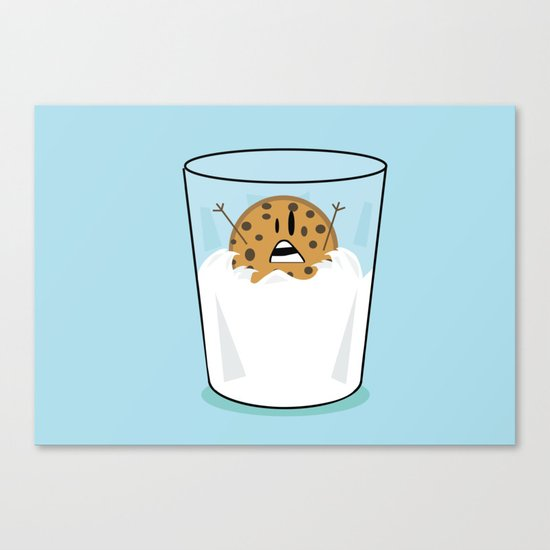 The problems of being a cookie in a milk glass Canvas Print