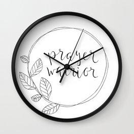 Prayer Warrior, leaf wreath Wall Clock