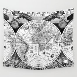 Black and White World Map (1630) Wall Tapestry