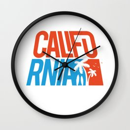 California Beach Tree San Francisco Los Angeles design Wall Clock