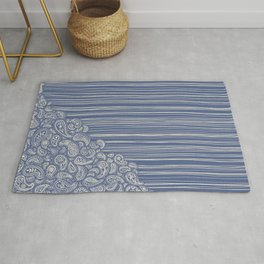 The Unraveling of Paisley Lace (in blue and cream) Rug