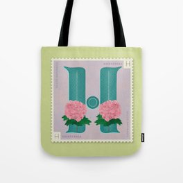 Sellos Naturales. Letter H. Flower: Hydrangea. Tote Bag