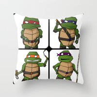 ninja turtle Throw Pillows featuring Teenage Mutant Ninja Turtle by Robbleeart