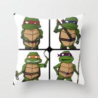 ninja turtle Throw Pillows featuring Teenage Mutant Ninja Turtle by Robbleeart