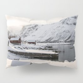 Snowy Mountain Landscape Art Print | Northern Norway, Lapland Photo | Travel Photography Pillow Sham