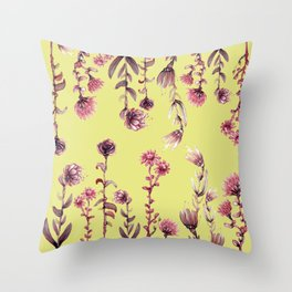 yellow pink flowers Throw Pillow