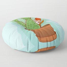 fairytale dwarf with cactus Floor Pillow