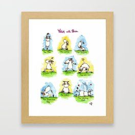 Yoga positions greeting card by Nicole Janes Framed Art Print