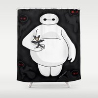 baymax Shower Curtains featuring Baymax by ItalianRicanArt