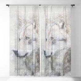 Watercolour grey wolf portrait Sheer Curtain