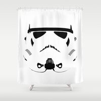 storm trooper Shower Curtains featuring Storm Trooper by WaXaVeJu