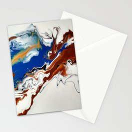 Fluid Gold, Blue and Brown Abstract Painting -Rule the World Stationery Cards