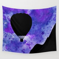 hot air balloon Wall Tapestries featuring Hot Air Balloon - Blue by Jessica Barst