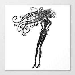 Long hair woman silhouette Canvas Print