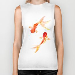Goldfish, Two Koi Fish, Feng Shui, yoga Asian meditation design Biker Tank