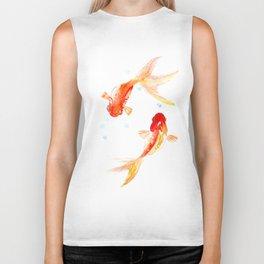 Goldfish, Two Koi Fish, Feng Shui, yoga Asian meditation design Biker Tank