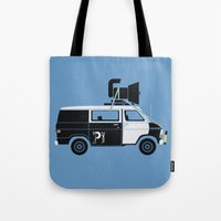 blues brothers Tote Bags featuring The Blues Brothers' Van by Brandon Ortwein