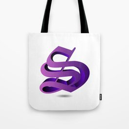3d Alphabet S in purple color- name initial personalized gifts Tote Bag