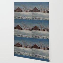 Winter Barn Wallpaper