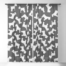 White Schnauzers - Simple Dog Silhouettes Pattern Sheer Curtain