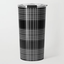 Black & Gray Plaid Print Travel Mug