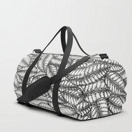 Black and White Botanical Leaf Print with Stick and Poke Style Duffle Bag