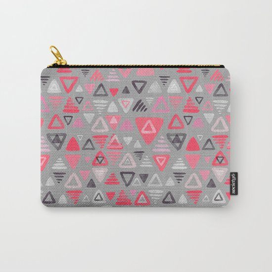 Summer Melon Hot Pink Triangles on Grey Carry-All Pouch