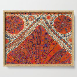Orange Wildflower Sunshine III // 18th Century Colorful Rusty Red Bright Blue Metallic Happy Pattern Serving Tray