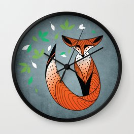 Dame Renard - Grey background with leaves Wall Clock