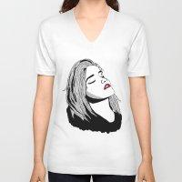 sky ferreira V-neck T-shirts featuring Sky Ferreira by BUGS