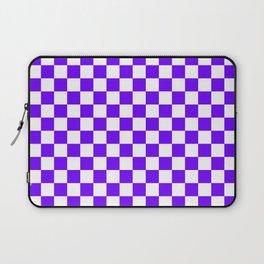 White and Indigo Violet Checkerboard Laptop Sleeve