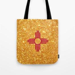 Gold Glitter New Mexico Flag Tote Bag