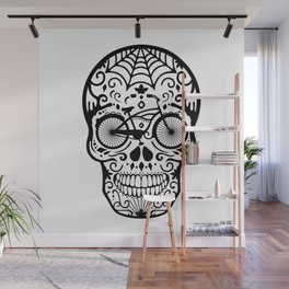 Vintage Mexican Skull with Bicycle - black and white Wall Mural
